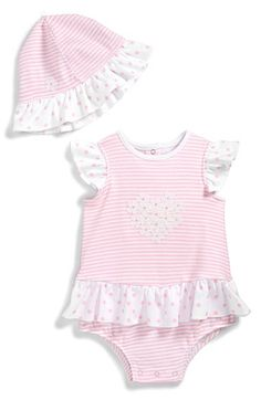 Little Me Ruffled Bodysuit & Sun Hat (Baby Girls) available at #Nordstrom