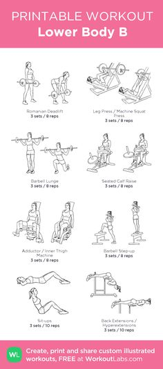 Lower Body B: High weights remember if you can do more than 12 reps the weight is too low. If you can't get to 8 reps the weight is too high, and 10 mins StairMaster 15-20 mins of a very high incline on the treadmill and you have a perfect gluteus and leg workout.