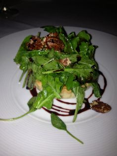 Warm goat cheese Maui onion tart, roasted pears, arugula, port wine syrup,toasted pecans — Gannon's Restaurant, Wailea Maui Hawaii