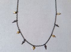 Handmade Silver Necklace with 4 oxidized small spikes, 5 large gold fill squares oxidized silver handmade by Evan Knox