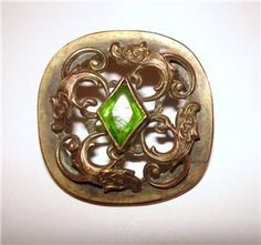 rare expensive vintage sewing buttons | VINTAGE ANTIQUE VICTORIAN BUTTON GREEN RHINESTONE BRASS METAL RARE ...