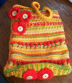 TUNISIAN BAG WITH CROCHET FLOWERS by baileyella, via Flickr
