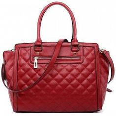 150c6aab936 Miss LuLu Women/Ladies Fashion Leather Look Quilted Tote Shoulder Handbag -  Red
