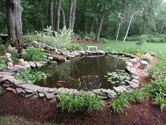 diseño de patio con estanque
