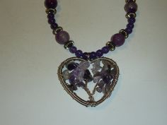 Amethyst and Purple Agate Necklace with Tree of by MoonwatersHaven Agate Necklace, Pendant Necklace, Purple Agate, Amethyst, Unique Jewelry, Handmade Gifts, Chain, Etsy, Vintage