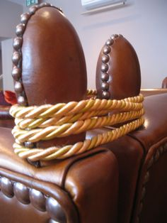 Leather Finials with hand nailed detail