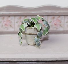 Dolls House Miniature Ivy in Grey Plant Pot by Artistique on Etsy