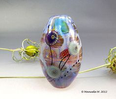 Blue  handmade lampwork glass focal bead