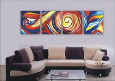 Modern Abstract Art Oil Painting STRETCHED READY TO HANG OPZ-4-34 Each piece is stretched and wrapped on wooden frames. It is ready to hang no additional frame required.
