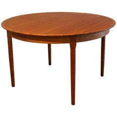 Round Danish Modern Rosewood Dining Table With Two Leaves Tannery - Danish modern dining table with leaves