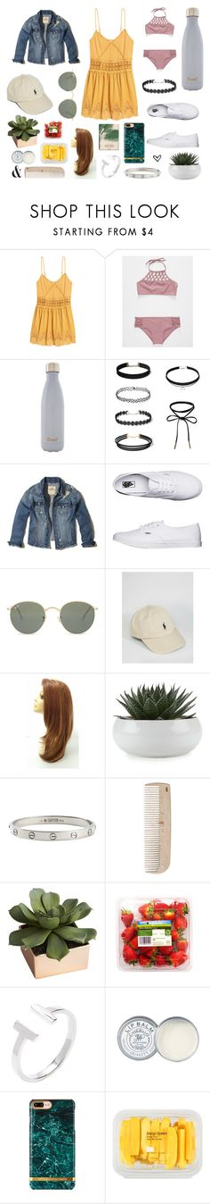 """Untitled #29"" by vivian-krause ❤ liked on Polyvore featuring H&M, Damsel in a Dress, S'well, Hollister Co., Vans, Ray-Ban, Polo Ralph Lauren, Cartier, HAY and CB2"