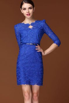 Royal Half Sleeve Scallop U Neckline Lace Bodycon Dress pictures Pretty Outfits, Pretty Dresses, Beautiful Dresses, Royal Blue Lace Dress, Dress Lace, Dress Picture, Dress Me Up, Short Dresses, Women's Dresses
