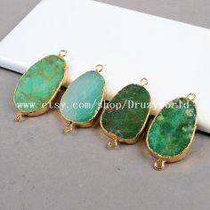Freeform Drop Gold Plated Natural Australia Jade by Druzyworld