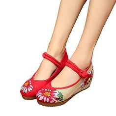 Veowalk Hibiscus Flower Embroidered Women's Casual Linen Wedges Shoes 5cm Heel Canvas Old Beijing Platforms Pumps EU38 Red * This is an Amazon Associate's Pin. Find the item on Amazon website by clicking the image.