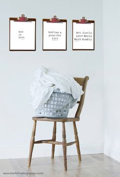 simple Bible Verse free printables: God is love. 1 John 4:8; God has a plan for you. Jeremiah 29:11; Act Justly Love Mercy Walk Humbly Micah 6:8 --Cute to hang on clipboards.