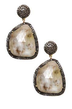 Sliced Sapphire & Champagne Diamond Drop Earrings - 1.3 ctw by Jewels By Lori K on @HauteLook