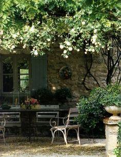 Backyard pergola for covering/blocking kids secret garden area? Outdoor Rooms, Outdoor Dining, Outdoor Gardens, Outdoor Decor, Outdoor Seating, Patio Dining, Outdoor Ideas, Garden Cottage, Home And Garden