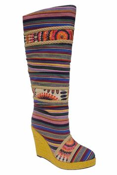 {Eiken Knee High Wedge Boot} it's like the technicolor dreamcoat, but in shoe form!