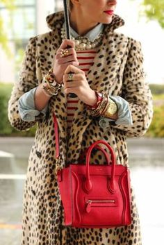 jean, stripes, leopard, pearls and a great red bag.