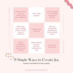 A few activities to help you cultivate joy