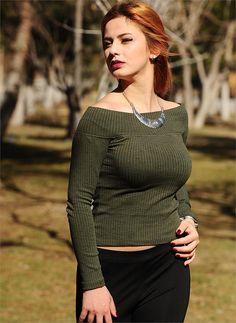 Bayan Triko Geniş Yaka Yeşil| Modelleri ve Uygun Fiyat Avantajıyla | Modabenle