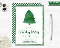 Christmas Party Invitation Watercolor Invitation Christmas ...