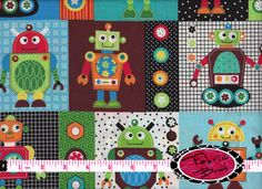 ROBOT Fabric by the Yard Half Yard Fat Quarter GEARHEADS PATCH Fabric Blue Red Fabric Boy Fabric Quilting Apparel 100% Cotton Fabric t6-26 on Etsy, $2.75