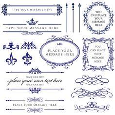 Calligraphy Vintage Clip Art ROYAL BLUE Clipart DIY Wedding Cards Design Photographer Embellishment Oval Frames Digital Downloads 10431. $6.50, via Etsy.