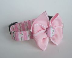 Shabby Chic Pink and Green Dog Collar size Extra by jeanamichelle, $11.50