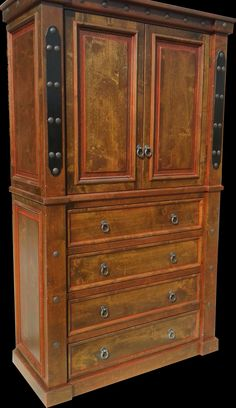 Handcrafted from solid alder wood and distressed to give it a more rustic look! Armoire shown with dark walnut stain and red glaze. It's a big one at 7 feet tall but can be customized to suit your needs! Western Furniture, Custom Furniture, Bedroom Furniture, Mountain Style, Dark Walnut Stain, Furniture Making, Armoire, Glaze, Westerns