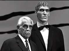 "zgmfd: ""Boris Karloff and Ted Cassidy "" Sci Fi Horror, Horror Films, Horror Art, Gothic Horror, The Addams Family 1964, Adams Family, Ted Cassidy, Charles Addams, Classic Horror Movies"