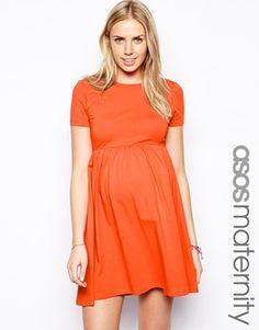 Image 1 ofASOS Maternity Skater Dress With Slash Neck And Short Sleeves