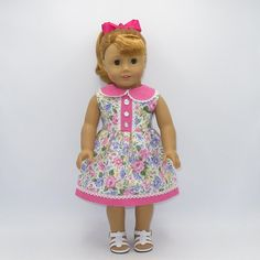"""Brightly Flowered Summer Dress, Fits 18"""" Dolls // AG Doll Clothes, American Girl Dress, Spring, Hot Pink, Sleeveless"""