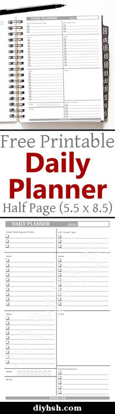DIY Home Sweet Home: Daily Planner (5.5 x 8.5) - Free Printable