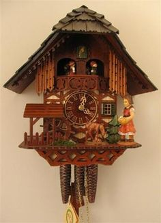 Animated Feeding Deer Cuckoo Clock. h1Animated Feeding Deer Cuckoo Clock_h1The dancers are animated, as well as the waterwheel below.The interesting animation on the Animated Feeding Deer Cuckoo Clock model includes a deer that softly feeds on the grass. Al.. . See More Cuckoo Clocks at http://www.ourgreatshop.com/Cuckoo-Clocks-C1122.aspx