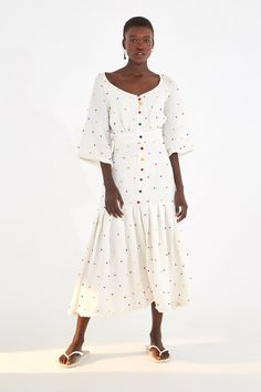 EMBROIDERED DOT MIDI DRESS – Farm Rio Beloved Clothing, Mini Dress With Sleeves, Fringe Trim, Striped Dress, Green And Grey, Wrap Dress, Short Dresses, Mini Skirts, Farm Rio