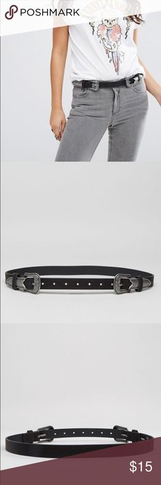 Long Tip Western Double Buckled Hip & Waist Belt Belt by ASOS Collection Faux leather strap Adjustable length and can be worn on your hips or waist Double pin-buckle fastening Two keepers Wipe clean 100% Polyurethane ASOS Accessories Belts