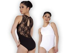 Ref: P440    Plume's microfibe high neck leotard has a beautiful lace back design with small keyhole back fastening. Shelf bra lining.