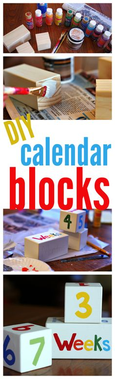 Make your own calendar wood blocks for a baby shower gift. These are perfect to document in pictures the months weeks years and even kisses. This step by step tutorial will show you which numbers go on which block which is very important! Wood Block Crafts, Diy Wood Projects, Wood Blocks, Diy For Kids, Gifts For Kids, Diy Kalender, Block Calendar, Diy Baby Gifts, Baby Crafts