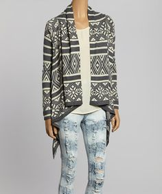 Loving this Gray Tribal Open Cardigan on #zulily! #zulilyfinds