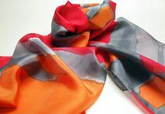Hand Painted Silk Scarf.Silk Scarf.Hand Painted. Silk Shawl. 71x18 in. Wedding Gift. Giveaways. Red scarf. Orange scarf. Grey scarf de gilbea en Etsy