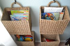 hanging basket book storage Cover to Cover Kids Book Storage. Great for the living room toys!