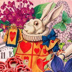 "Madame Treacle on Instagram: ""Da Da Dahhh! #madametreacle #vintagecollage #artcards #flowerart #whiterabbit #aliceinwonderland #vintagehome #vintagegarden #journaling…"" Playing Cards Art, Alice In Wonderland, Flower Art, Journaling, Collage, Digital, Painting, Instagram, Art Floral"