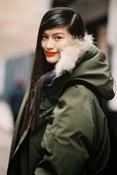 New York Fashion Week red lip with khaki