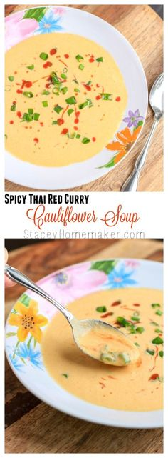 Roasted cauliflower that's been blended with spicy thai red curry paste to make the easiest & most delicious soup! Top it with green onions, a drizzle of hot sauce and toasted baguette slices or naan bread for dipping. Vegetarian.
