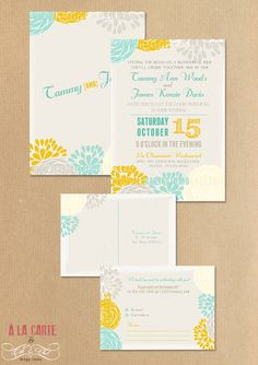 Wedding Invitation Cards and RSVP   Modern by alacartestudio, $30.00