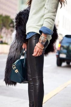 faux leather leggings, a denim shirt, favorite sweater, pile on the bracelets, grab your favorite structured bag
