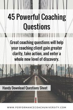 life coaching tools The best coaching questions are usually open-ended questions that illuminate opportunity. Check out these 45 powerful coaching questions you can use that are bro Life Coaching Tools, Leadership Coaching, Online Coaching, Business Coaching, Coaching Quotes, Coaching Techniques, Coaching Questions, Becoming A Life Coach, Life Coach Quotes