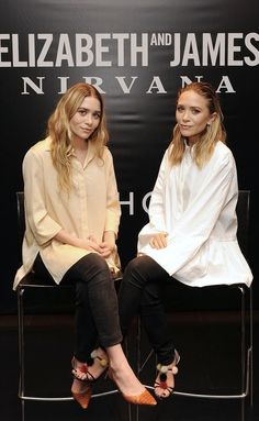 OLSENS ANONYMOUS MARY KATE AND ASHLEY ELIZABETH AND JAMES NIRVANA FRAGRANCE DEBUT AT SEPHORA OVERSIZED TAN BUTTON DOWN SHIRT POPLIN WHITE TU...