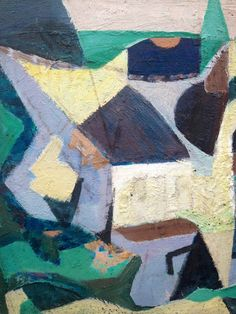Cubist village in yellow and lavender. Oil on panel. 1930s. www.dandaproductions.com